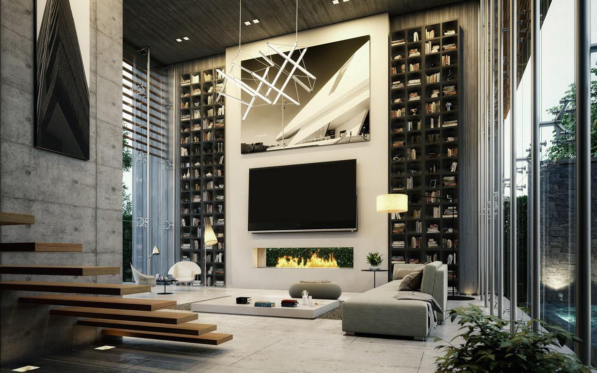 Luxe interieurs met hoog plafond