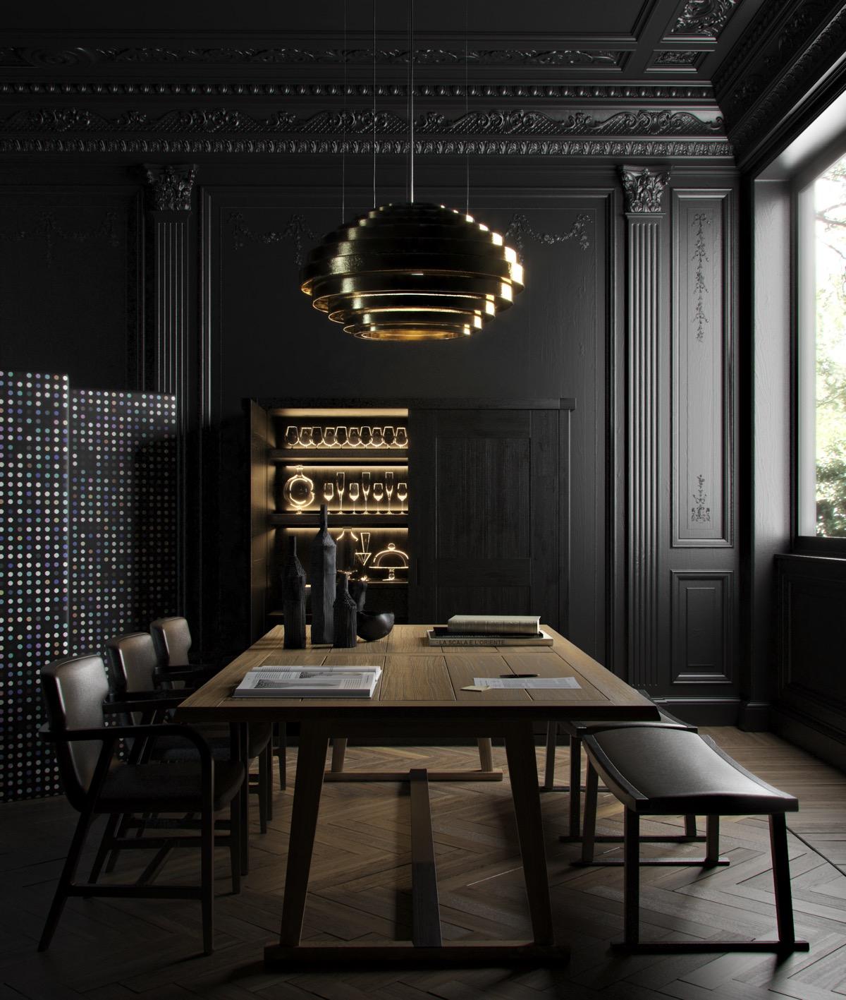 zwarte eetkamer